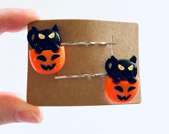 Set of 2 Black Cat Pumpkin Hair Clips Bobby Pins, Halloween Hair Clips