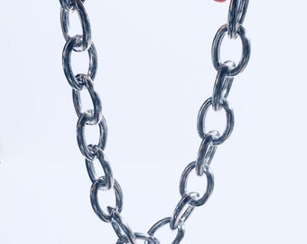 Chunky Silver Chain Choker Necklace Adjustable End, Y2k Style Aesthetic Goth Gothic Chic Punk