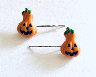 Set of 2 Gourd Pumpkin Bobby Pins, Pumpkin Hair Clips, Halloween Hair Clips