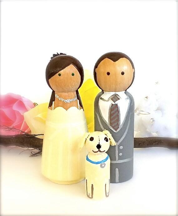 Wedding Cake Topper CUSTOM CAKE TOPPER with 1 Pet Wood Peg