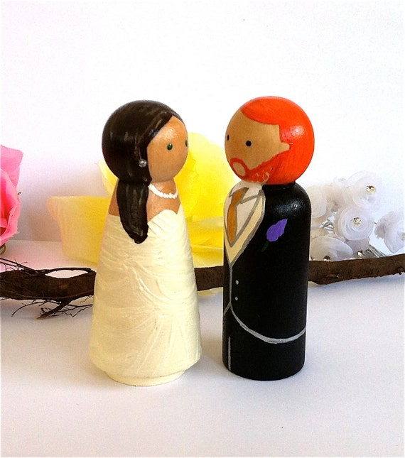Cute WEDDING CAKE TOPPER Custom Cake Topper Peg Dolls Large | Etsy