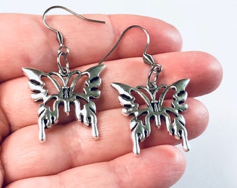 Silver Butterfly Earrings, Spring Summer Fashion Drop Dangle Bug Earrings, Cottagecore Aesthetic, Stainless Steel Ear Hooks, Goth Gothic