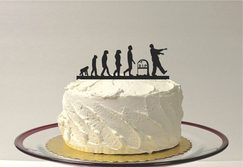 MADE In USA Evolution Of The Zombie Cake Topper Apocalypse Wedding Birthday Halloween Silhouette
