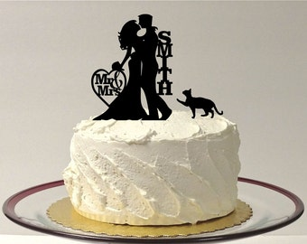 MADE In USA, Cat + Bride & Groom Wedding Cake Topper, Silhouette Wedding Cake Topper with Cat, Custom Wedding Cake Topper, Personalized Cake