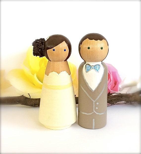 CAKE TOPPERS Custom Wedding Cake Topper Peg Doll Cake Topper | Etsy