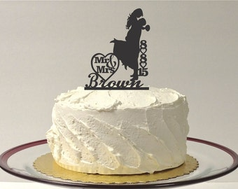MADE In USA, Personalized Wedding Cake Topper Personalized With YOUR Family Last Name and Wedding DateSilhouette Of Groom Lifting Up Bride