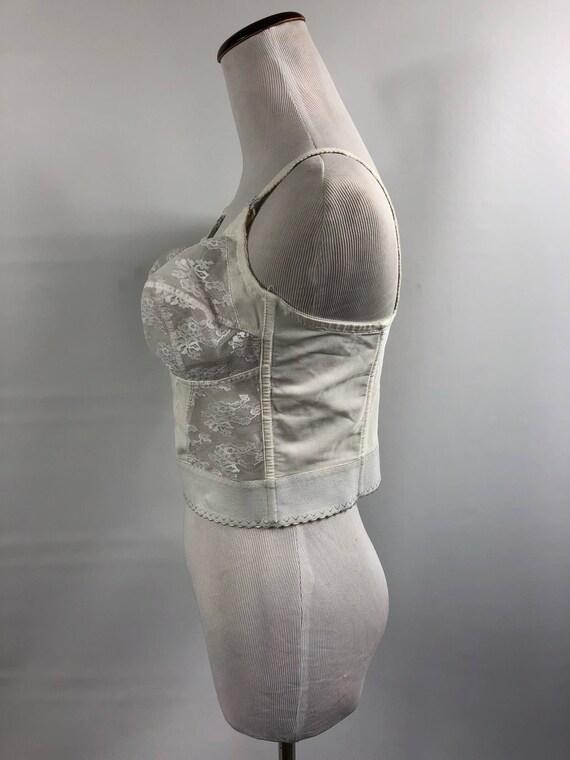 Vintage Lace Brassiere Corset Ivory Lace Mesh 38 B - image 6
