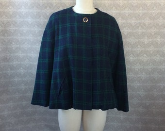 Blue and Green Plaid Cape with Pockets