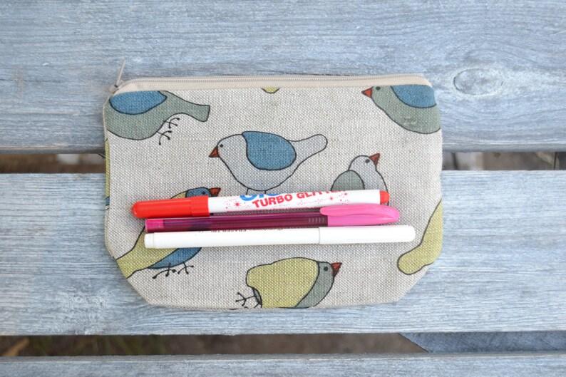Pencil Pouch Pencil Case Back To School Grey Gray Birds