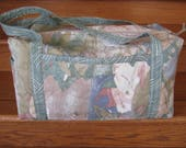 """Quilted Duffle Bag """"Abstraction"""" Medium Size Duffel Bag, Travel Bag, Quiltsy Handmade, Overnighter, Weekender"""