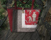 """Quilted Tote Bag """"Catch a Bird!"""" Market Bag, Quiltsy Handmade, Artsy Handbag, Elegant Tote, Red and Gray carry-all"""