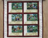 """Quilted Wallhanging """"Country Life"""" Quiltsy Handmade, Attic Window Quilt, Currier and Ives Print, Fabric Wall Decor"""