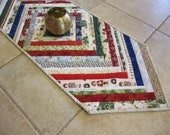 """Quilted Table Runner """"Christmas At Home"""" CIJ Xmas Selvedge Table Topper, Holiday Table Mat, Long Rectangular Table Topper, Quiltsy Handmade,"""