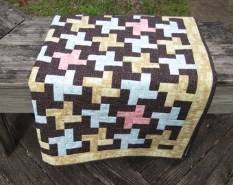 "Patchwork Quilt ""Houndstooth"" 48"" Square Lap Quilt, Quiltsy Handmade, Sofa Throw, Wheelchair Quilt, Quilted Blanket"