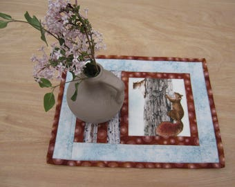 "Quilted Mug Rug ""Squirrels"" Snack Mat, Candle Mat, Small Placemat, Quiltsy Handmade, Hot pad, Fabric Trivet"