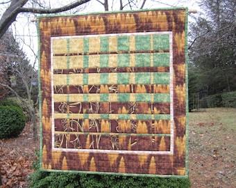 "Quilted Wallhanging ""Woodlands"" Convergence Art Quilt, Fiber Art, Geometric Wall Hanging, Modern Fabric Art Quilt, Quiltsy Handmade"