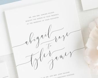 Romantic Calligraphy Wedding Invitations - Deposit