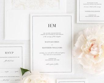 Glam Monogram Wedding Invitations - Sample