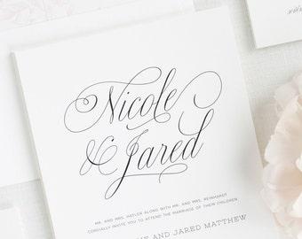 Garden Script Wedding Invitations - Sample