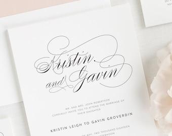Script Elegance Wedding Invitations - Deposit