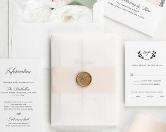 Wreath Monogram Floral Wedding Invitations - Deposit