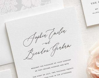 sophia letterpress wedding invitations sample
