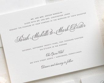 1940s letterpress wedding invitations sample