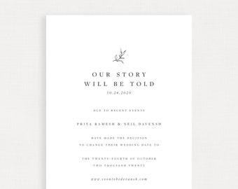 Postponement Announcement Wedding Template Digital - Simple Linen - Priya