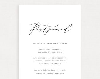 Postponement Announcement Wedding Template Digital - Simple Linen - Sienna