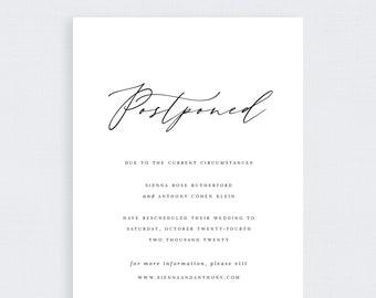 Change the Date Wedding Template Digital - Blue Linen - Sienna