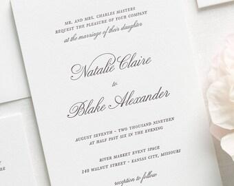 classic script letterpress wedding invitations deposit