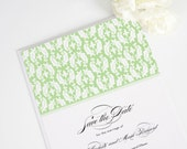 Damask Save the Date Card Wedding Announcement in Spring Green - Classic Damask Deposit