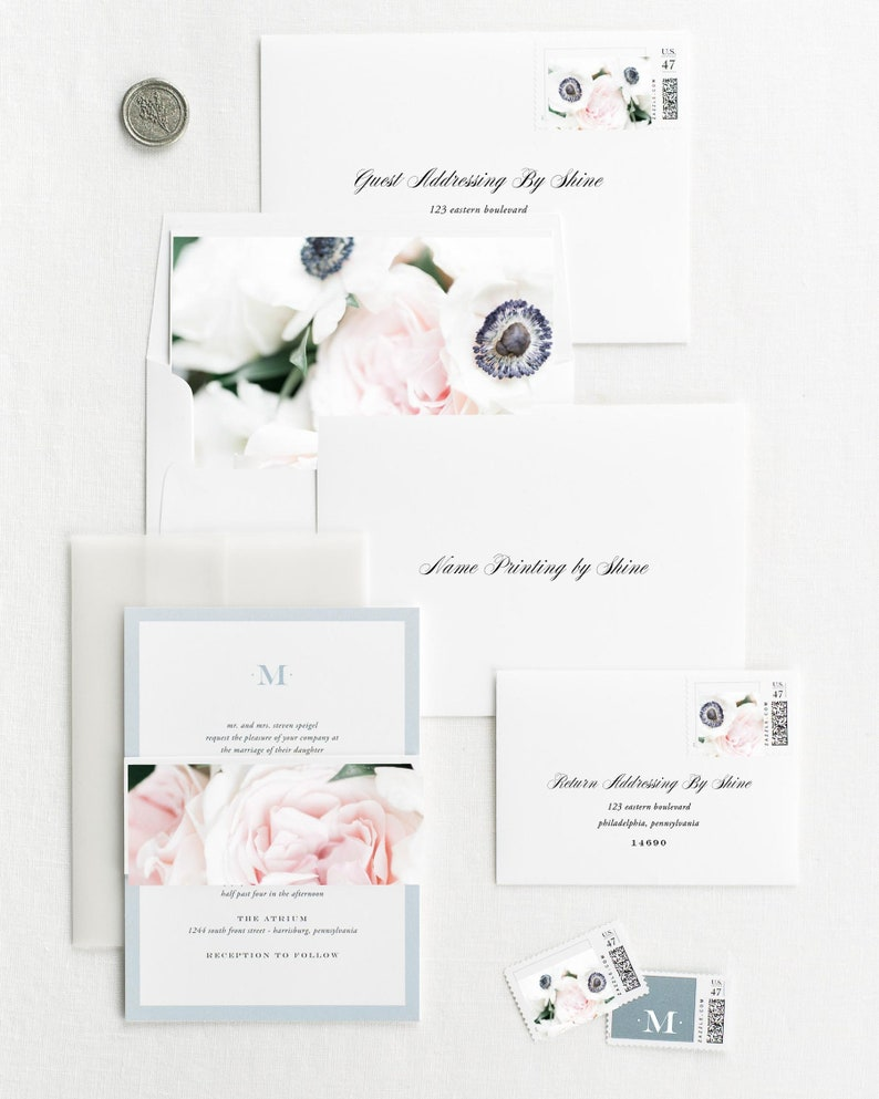 Deposit Upscale Monogram Floral Wedding Invitations