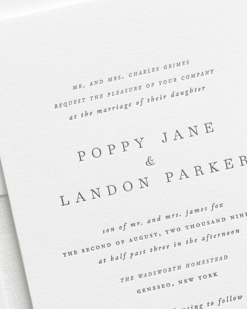 Letterpress Wedding Invitations.Poppy Letterpress Wedding Invitations Sample