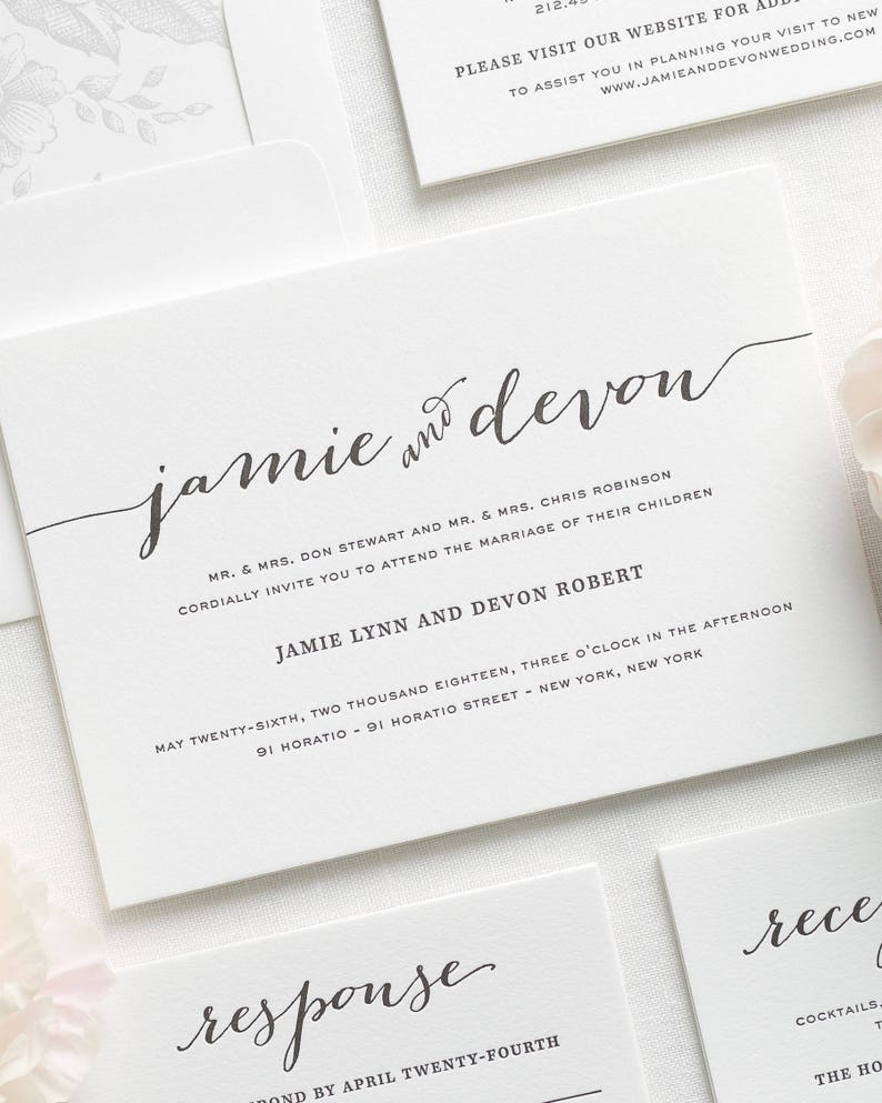 Flowing Script Letterpress Wedding Invitations