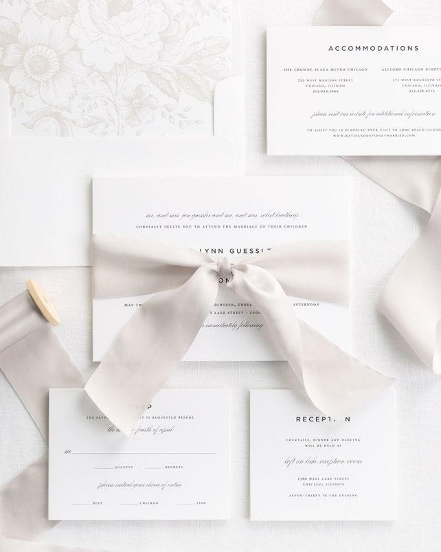 Classic Urban Ribbon Wedding Invitations - Deposit