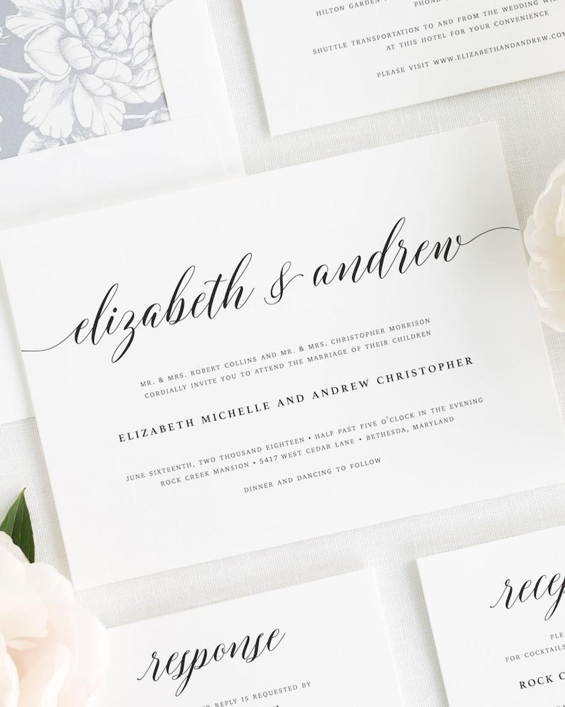 Elegant Romance Wedding Invitations Deposit