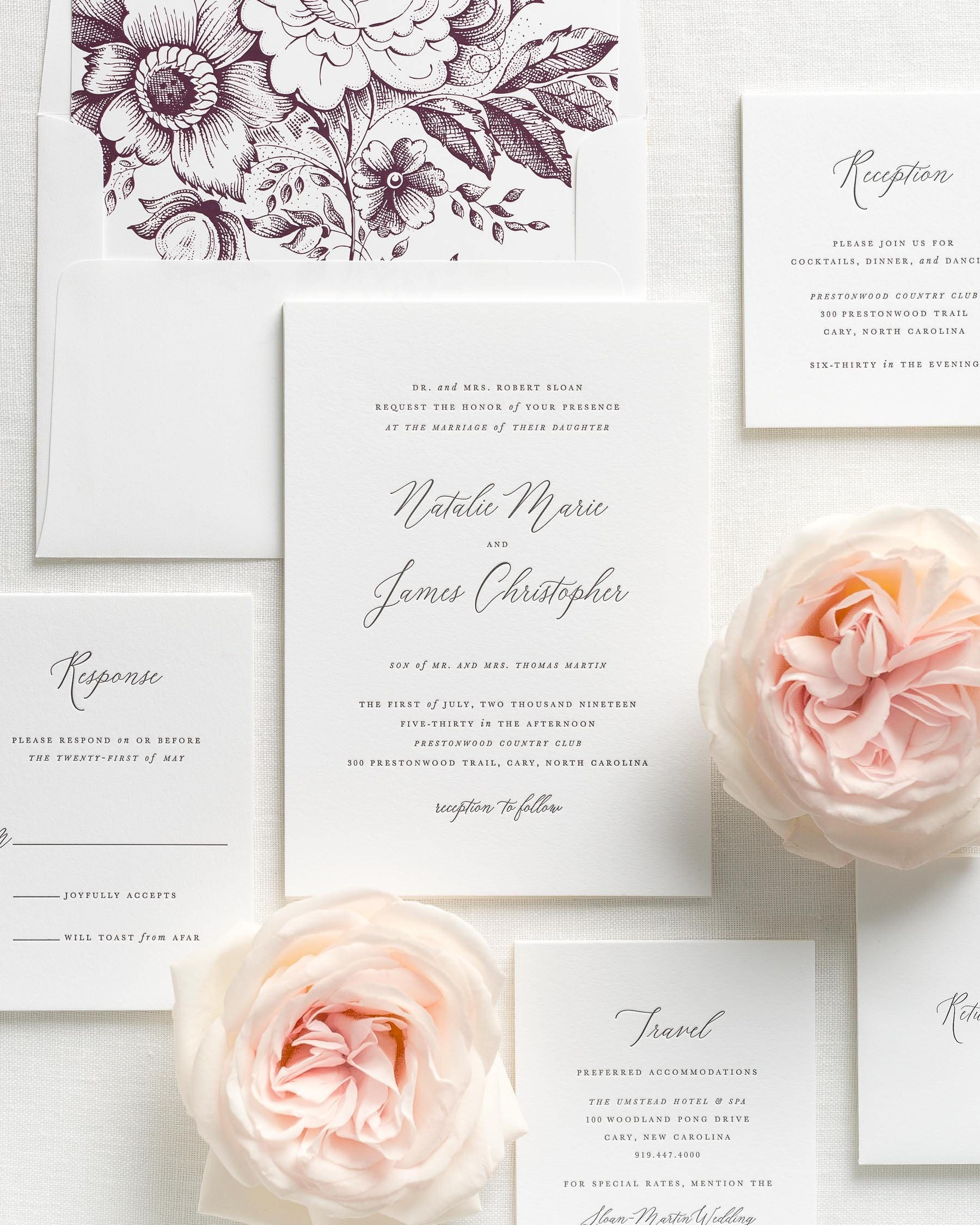 Natalie Letterpress Wedding Invitations Sample