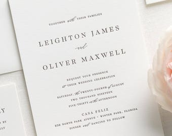 Leighton Letterpress Wedding Invitations - Sample