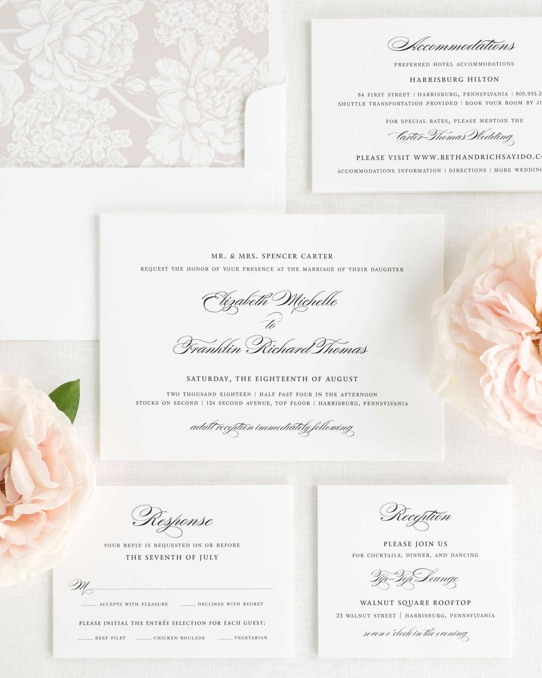 Timeless Elegance Wedding Invitations Sample