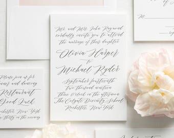 Olivia Letterpress Wedding Invitations - Sample