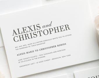 Urban Glamour Letterpress Wedding Invitations - Sample