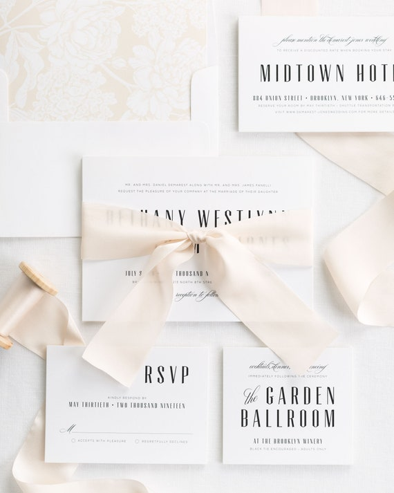 Mid Century Romance Ribbon Wedding Invitations - Deposit
