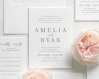 Amelia Letterpress Wedding Invitations - Sample