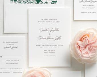Camille Letterpress Wedding Invitations - Sample