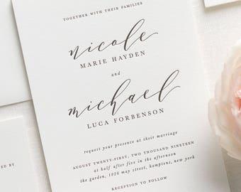 Nicole Letterpress Wedding Invitations - Sample