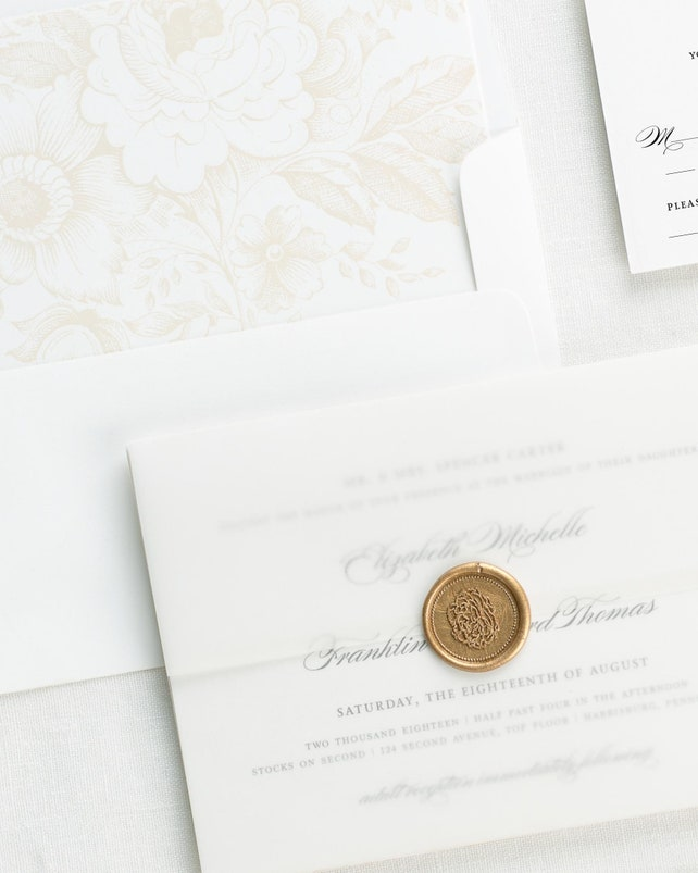 Timeless Elegance Vellum Wedding Invitations - Deposit