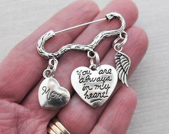 You are always in my heart, Bouquet Charm, Wedding Pin, Memorial Brooch Pin, Boutonniere Charm, Mom, Dad, Grandma, Grandpa