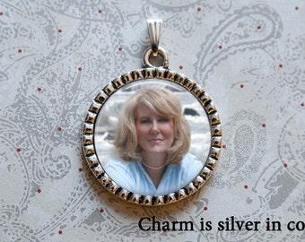 Bouquet Charm, Custom Photo Pendant, Boutonniere Pin, Wedding Bouquet Charm, Memorial