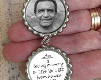 Bridal Charm, Custom Photo Pendant, Memorial, Wedding Charm, Bridal Bouquet, In Loving Memory of those watching from heaven